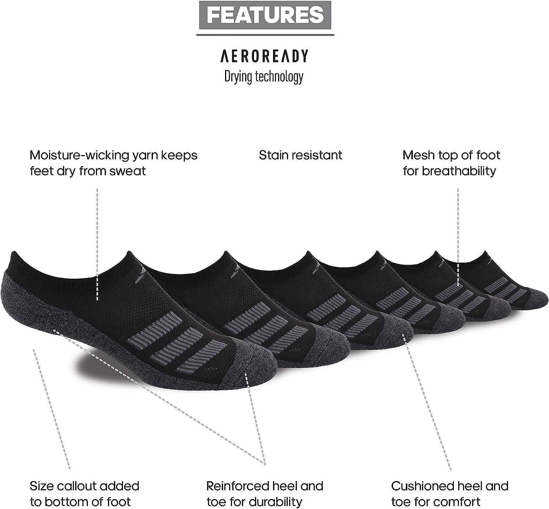adidas Kid's-Boy's/Girl's Cushioned No Show Socks (6-Pair)