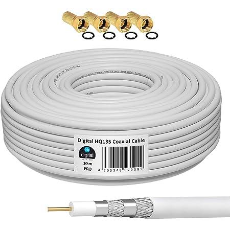 HB-DIGITAL 10m Câble Coaxial HQ-135 Câble d'Antenne 135dB Câble SAT 8K 4K UHD 4 Fois Blindé Pour les Systèmes DVB-S / S2 DVB-C / C2 DVB-T / T2 DAB+ Radio BK + 4 F-Plug GRATUIT