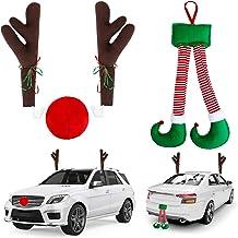 URATOT Christmas Car Decorations Set Christmas Car Reindeer Antlers Elf Hanging Legs Set for Christmas Winter Holiday Deco...