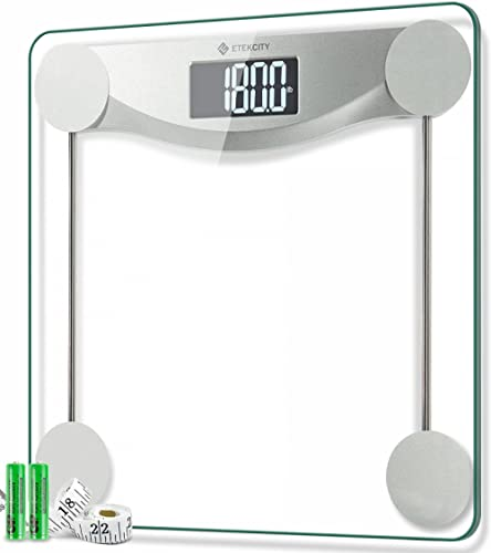 Etekcity Digital Body Weight Bathroom Scale, 440 Pounds, 6mm Tempered Glass Platform with Rounded Corner Design, Larg...
