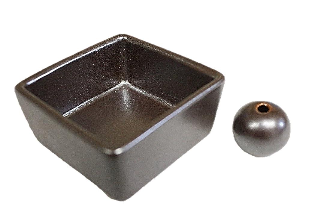 まもなく忠実なファンブル和モダン 鉄器色 お香立て 陶器 角鉢 製造直売品