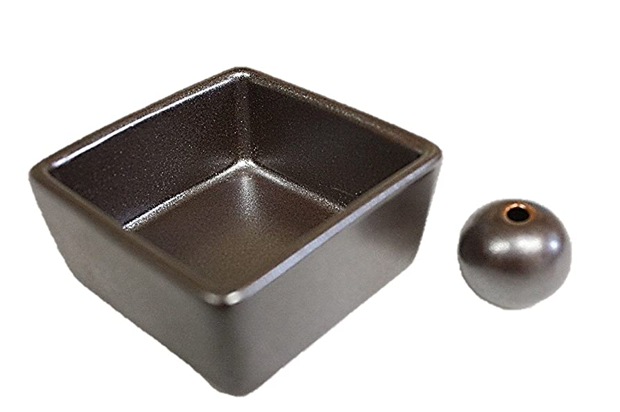 機械申請者動機付ける和モダン 鉄器色 お香立て 陶器 角鉢 製造直売品