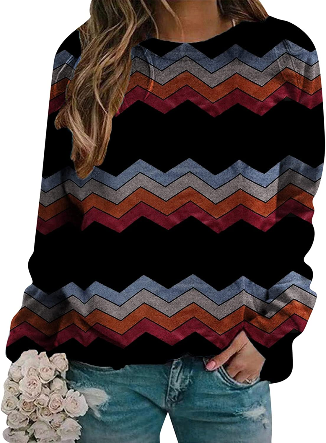 UOCUFY Long Sleeve Shirts for Womens, Womens Sweatshirt Casual Crewneck Long Sleeve Blouse Gradient Color Block Tops