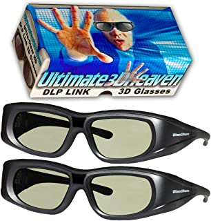 DLP LINK 144 Hz Ultra-Clear HD 2 PACK 3D Active Rechargeable Shutter Glasses for All 3D DLP Projectors - BenQ, Optoma, Del...