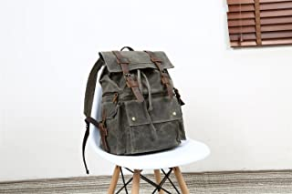 Men's Bag Men's Shoulder Bag Oil Canvas Bag With Crazy Horse Bag Backpack 15.6-inch Waterproof Outdoor Leisure Men's Bag (Color : Bronze, Size : M)