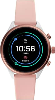 Fossil Womens Gen 4 Sport Heart Rate Metal and Silicone Touchscreen Smartwatch, Color:Blush