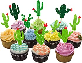HZOnline Cactus Cupcake Toppers Summer Hawaii Theme Party Favors Cupcake Picks for Fruit Cake Decorations Fiesta West Tropical Cacti Birthday Party Supplies (24PCS)