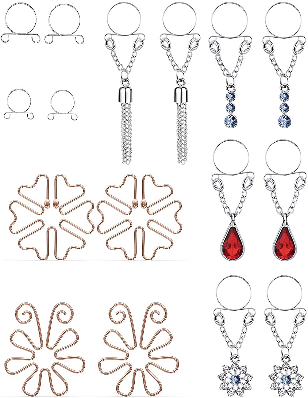 Goerhsjie Fake Nipple Rings Non-Piercing Nipplerings Fake Nipplerings Piercings Clip On Nipple Rings Stainless Steel Faux Dangle Nipple Jewelry for Women