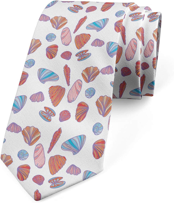 Lunarable Men's Tie, Colorful Various Shells, Necktie, 3.7