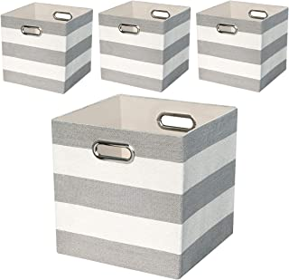 Posprica Storage Bins Storage Cubes,11×11 Collapsible Storage Boxes Containers Organizer Baskets for Nursery,Office,Closet,Shelf - 4pcs,Grey-White Striped