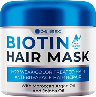 Bellisso Biotin Hair Conditioner Mascarilla con aceite de argán para cabello seco dañado - Tratamiento profundo - Hidratante de extremo dividido, producto acondicionador hidratante