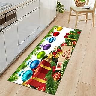Sabull Bright Christmas Bells Non-Slip Absorbent Bath Mat Area Rug for Living Room Bedroom Floor Carpet