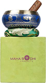Tibetan Singing Bowl Set ~ Cool Blue Design ~ Maha Bodhi 5 Inch Wide Authentic Meditation Gong for Relaxation and Chakra Healing ~ Completely Hand Carved ~ Perfect Gift