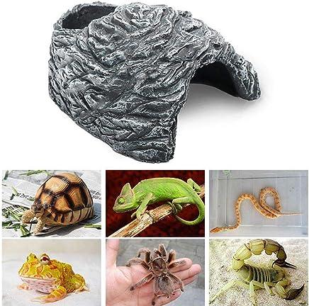 Umiwe Guaridas Reptiles Piedras Anfibios Decoración del hábitat Dragon Barbudo Tortugas Casas Accesorios Terrarios Juguetes para Serpiente Lagartija Hámster Rata (M)