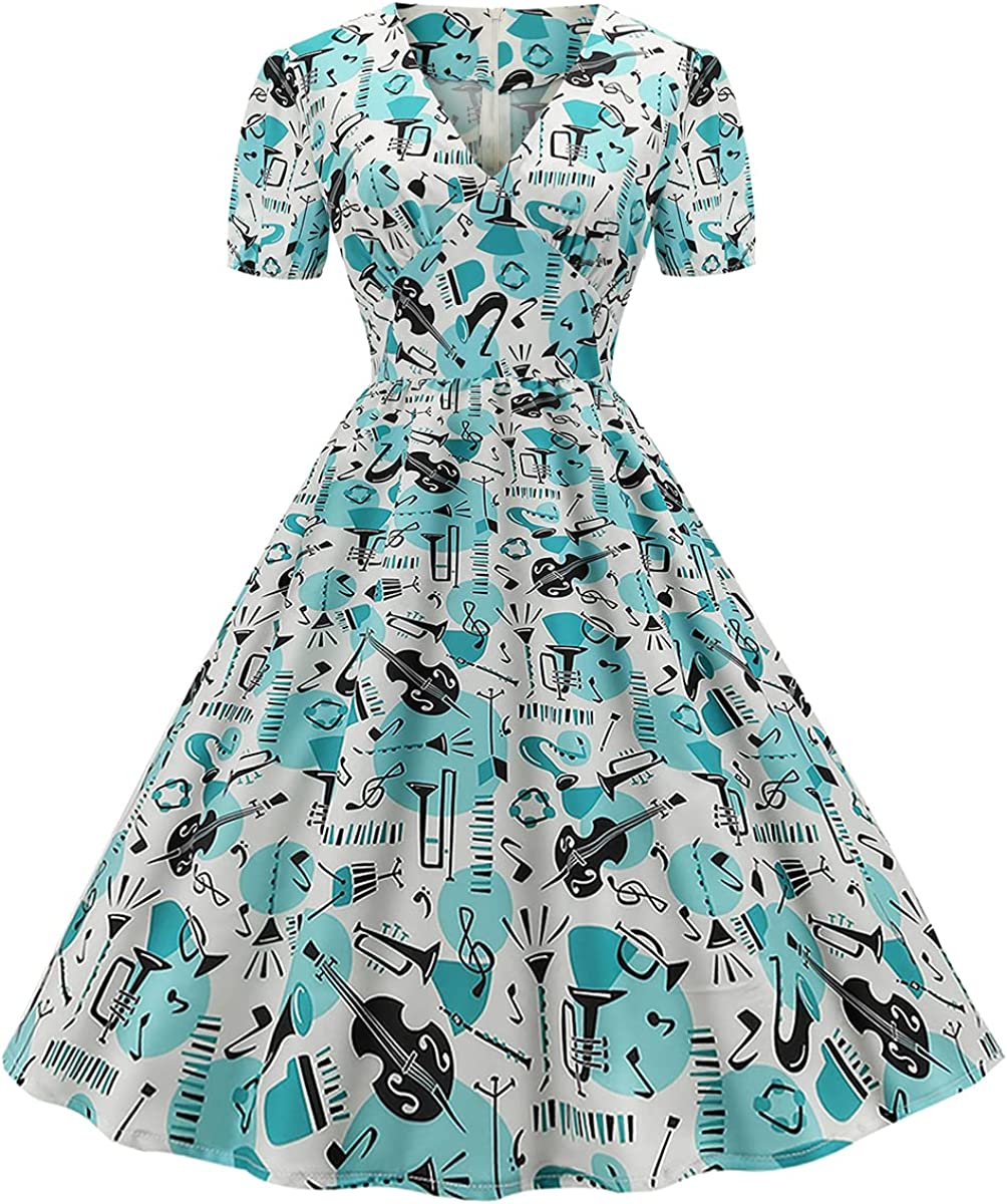 Women's puff Sleeve cherry print 50s Retro Vintage Cocktail Swing Dresses