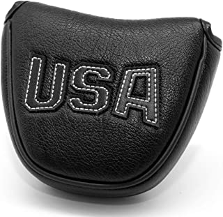 USA Mallet Putter Cover Headcover Magnetic Golf Head Covers Headcovers Club Protective Equipment for Scotty Cameron Odyssey Two Ball Taylormade Durable Thick Pu Leather