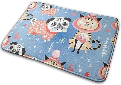 Door Mats Texture in Love Cats and Pugs Winter Floor Mat Indoor Outdoor Entrance Bathroom Doormat Non Slip Washable Welcome Mats Decor 23.6 x 15.7 inch