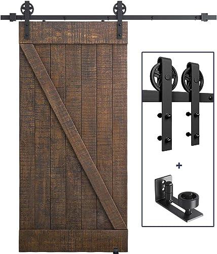 discount 6.6 FT Heavy Duty Sliding Barn Door Hardware Kit(Wheel Shape) outlet sale + Flush Design Barn Door Floor Guide for Bottom outlet online sale Adjustable Roller online sale