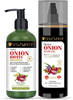 Soulflower Onion Oil For Hair Growth 220ml and Soulflower Onion Biotin Shampoo 300ml For Hairfall, Dandruff, Flaky Scalp, ...