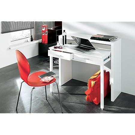 Skraut Home - Bureau Informatique Extensible, Table d´appoint de Studio pour Ordinateur, 2 tiroirs, Blanc Brillant, 98,6x86,9x36-70cm.