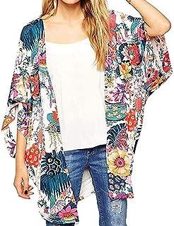 Women's Sheer Chiffon Blouse Loose Tops Kimono Floral Print Cardigan 3/4 Sleeve Beachwear Casual Capes Beach LIM&Shop