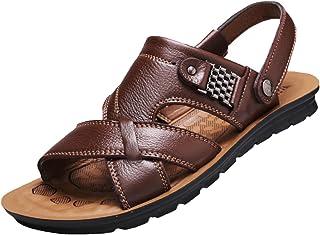 DADAWEN Men's Leather Outdoor Open Toe Sandals