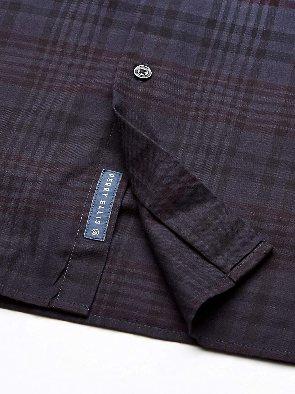 Perry Ellis Men's Big and Tall Dip Dye Oxford Plaid Short Shirt