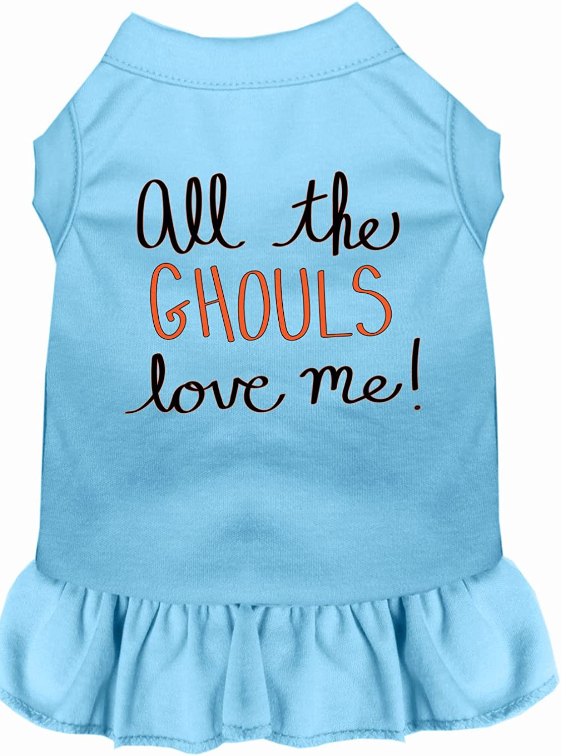 Mirage Pet Products 5862 BBLXS All The Ghouls Screen Print Dog Dress, XSmall, Baby bluee