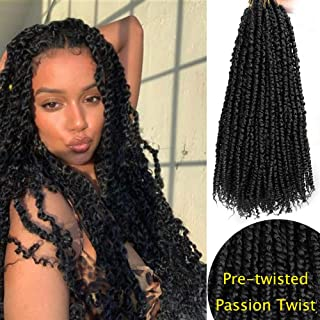 Vigorous Pre-twisted Passion Twist Crochet Hair Pre-looped Passion Twist Spring Twist Bomb Twist Synthetic Hair Extension with Curly Ends for Black Women 8 Packs 18 Inch (1B)