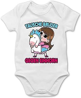 Shirtracer Geschwisterliebe Baby - Tausche Bruder gegen Einhorn - 1/3 Monate - Weiß - Baby Body mädchen Bruder - BZ10 - Baby Body Kurzarm für Jungen und Mädchen