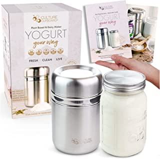 Stainless Steel Yogurt Maker with 1 Quart Glass Jar and Complete Recipe Book to Make 12+ Easy Homemade Dairy Free and Milk...