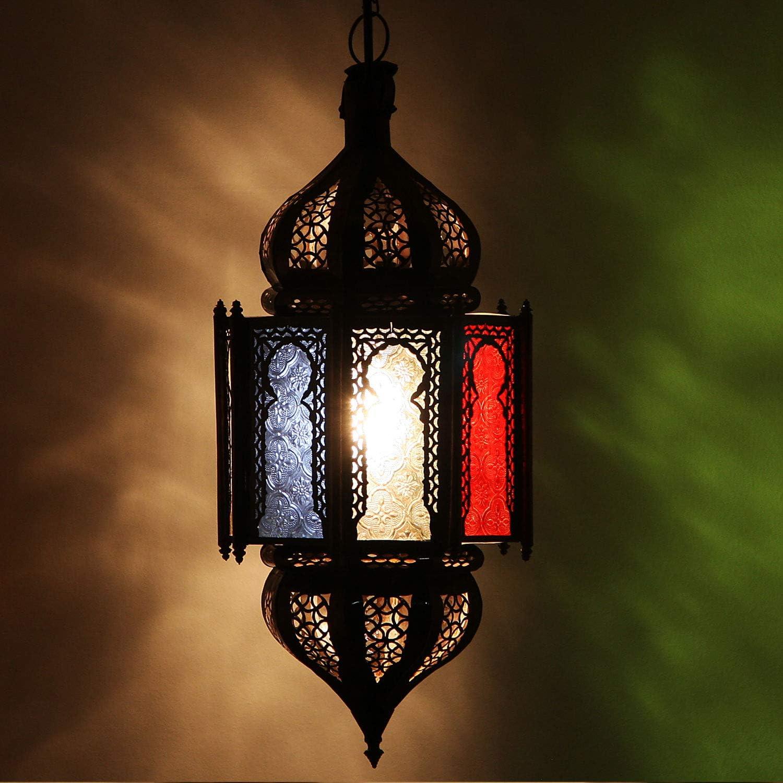 Orientalische Lampe marokkanische Hngelampe Haniya Multifarbig H 50  20 cm aus Metall & Reliefglas  Kunsthandwerk aus Marrakesch  Prachtvolle Pendelleuchte wie aus 1001 Nacht  L1324