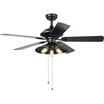 Warehouse Of Tiffany Hacfl 8308 Upille 3 Light Metal 5 Blade 52 Inch Matte Black Optional Remote Available Ceiling Fan Amazon Com