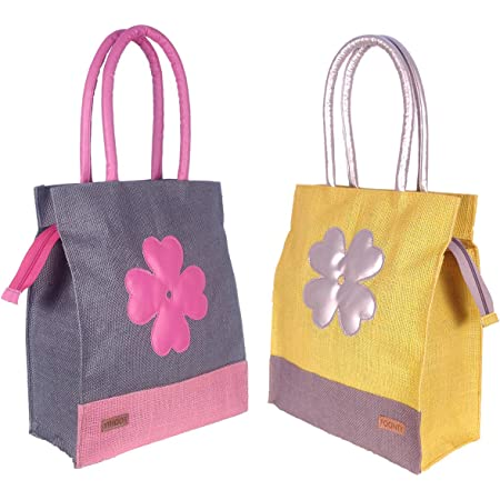 Foonty Exclusive Sunflower Daily Use Jute Lunch Bag(Combo of 2,Multicolor,FFFWB6015E)