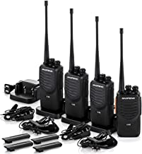 Upgraded BaoFeng Walkie Talkies 4 Pack Long Range Two Way Radio UHF 400~470MHz 16-Channel Walkie Talkies with Earpiece