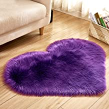 60 * 60cm Heart Shape Faux Rug Soft Long Plush Fluffy Shaggy Carpet Area Mats Rugs Bedroom Sofa Decorative Floor Carpet,Pu...