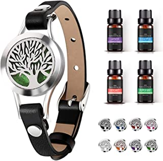 Aromatherapy Essential Oil Diffuser Bracelet Stainless Steel Locket Black Leather Band Jewelry w/ 8pcs Cotton Pads, 4 Essential Oils (Lavender, Peppermint, Eucalyptus, Bergamot) Gift for Girls/Women