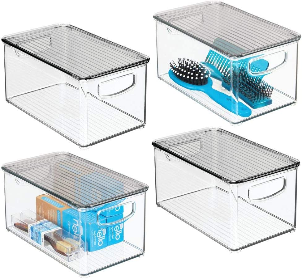 mDesign Plastic Stackable Bathroom Storage with Super sale period limited Handles Lid Box Brand Cheap Sale Venue