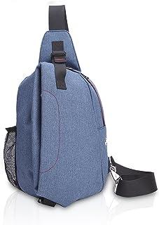 Hombres Sling Bag Estudiantes Sport Fitness Outdoor Bolso de Crossbody with Earphone Hole Bolso de Pecho Impermeable Poliéster Azul