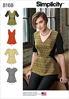 Simplicity Pattern 8168 Misses' Peplum Top with Neckline and Sleeve Variations Size H5 (6-8-10-12-14)