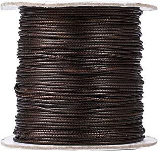 Pandahall 1Roll/93yards 1mm Thick Korean Waxed Cord Polyester Beading Synthetic Fibers Cord Thread for Jewelry Makings Deep Coffee