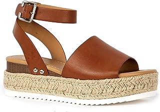 Blair Espadrille Sandal - Straw Platform Open Toe Ankle Strap Sandals