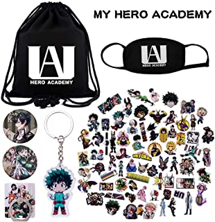 KINON My Hero Academia Gift Sets - 1 Drawstring Bag, 73 Cartoon Laptop Stickers, 1 Face Mask, 2 Button Pins, 1 Phone Ring Holder, 1 Keychain