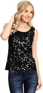 Womens Sequin Metallic Sparkly Cocktail Party Sleeveless Tank Top