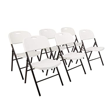 AmazonBasics Folding Plastic Chair, 350-Pound Capacity, White, 6-Pack