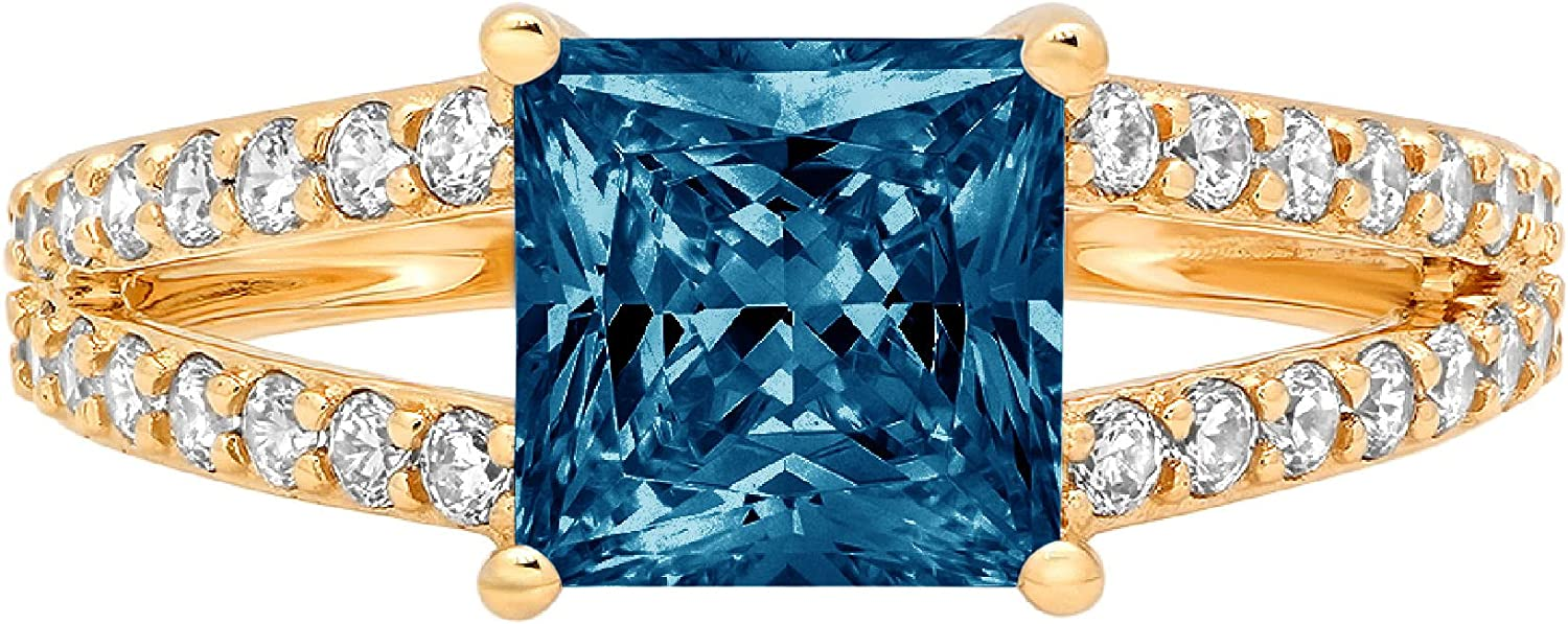 2.42 ct Princess Cut Solitaire Accent split shank Genuine Flawless Natural London Blue Topaz Gemstone Engagement Promise Statement Anniversary Bridal Wedding Ring Solid 18K Yellow Gold