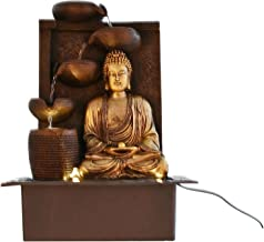 Chronikle Buddha Polystone 5 Steps Indoor Table Top Water Fountain with LED Lights and Water Pump (Brown,Golden, 41cm X 31cm X 23cm)