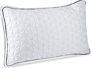 POPRUN - Almohadas de cama Queen para dormir, almohada hipoalergénica para dormir lateral y trasero, relleno de espuma viscoelástica triturada y funda de bambú lavable (gris)