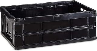 Relaxdays 10022588_46 Boîte pliable couvercle caisse de rangement plastique coffre transport 40 litres 60x40x22 cm, noir, ...