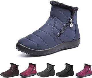 Botas de Nieve para Mujer,Camfosy Botines de Invierno Impermeables Piel Interior cálida Zapatos Planos Tacón Plano Ciudad ...